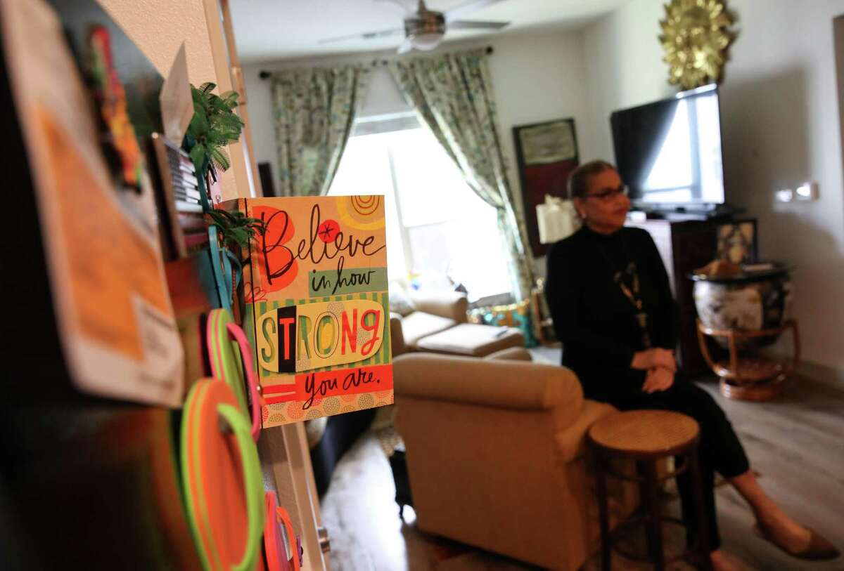 A card decorates the refrigerator in the apartment of Dina Montalbo, who performs as Dina Jacobs, on Tuesday, June 22, 2021, at the Law Harrington Senior Living Center in Houston. The center is a LGBTQ-affirming senior living center run by the Montrose Center.