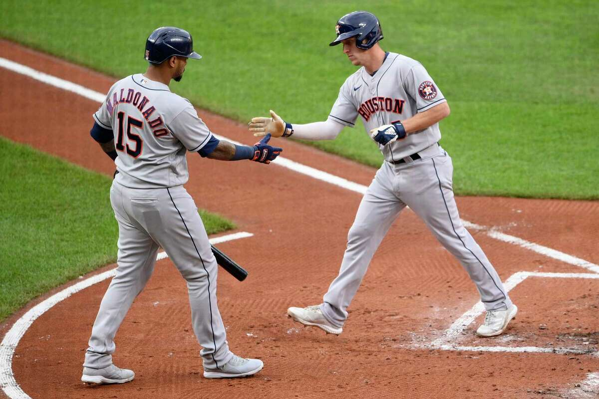 Astros center fielder Myles Straw celebrates his second-inning home run with teammate Martin Maldonado during Tuesday's victory at Baltimore.