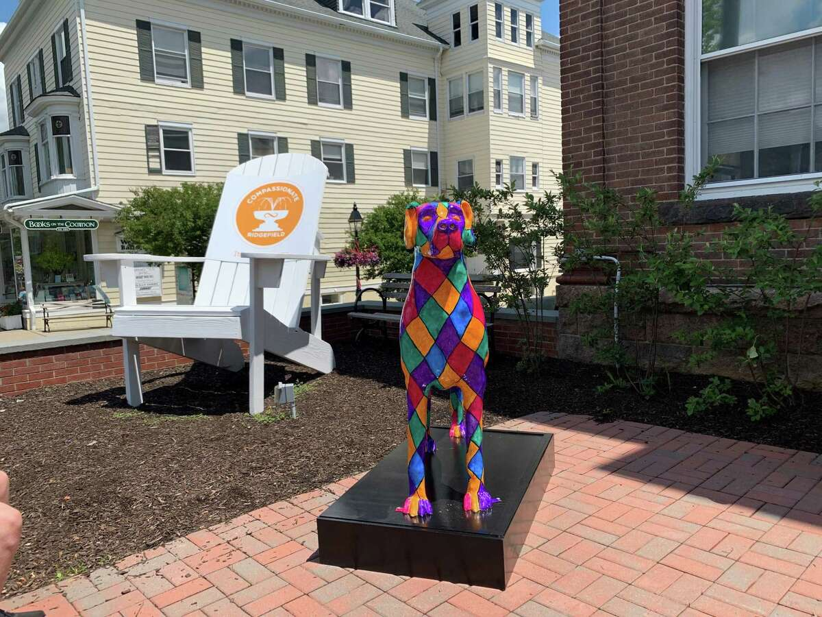 Dog statues are on display up and down Ridgefield as part of a community-wide fundraiser coordinated by the Artful Visual Arts Initiative non-profit.