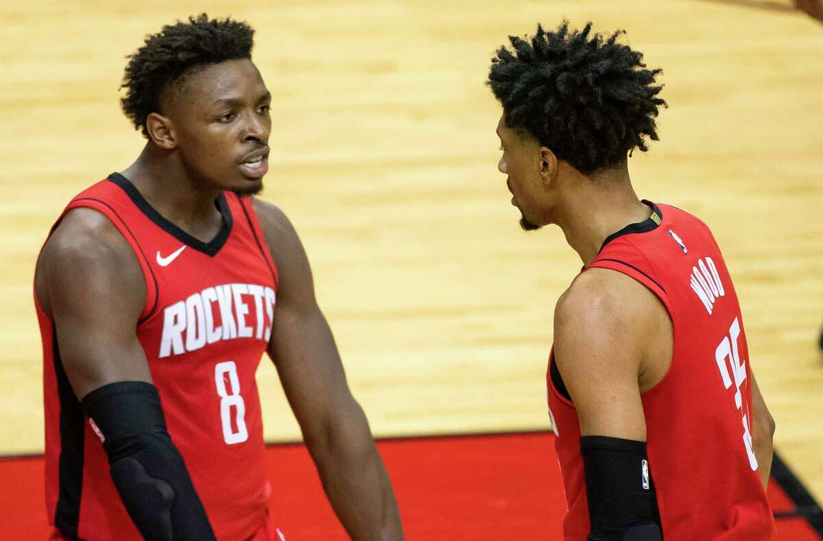 All-NBA Rookie first-teamer Jae'Sean Tate, left, and Christian Wood are a starting point for a Rockets rebuild now enhanced with the No. 2 pick in the draft, as well as the 23rd and 24th selections.