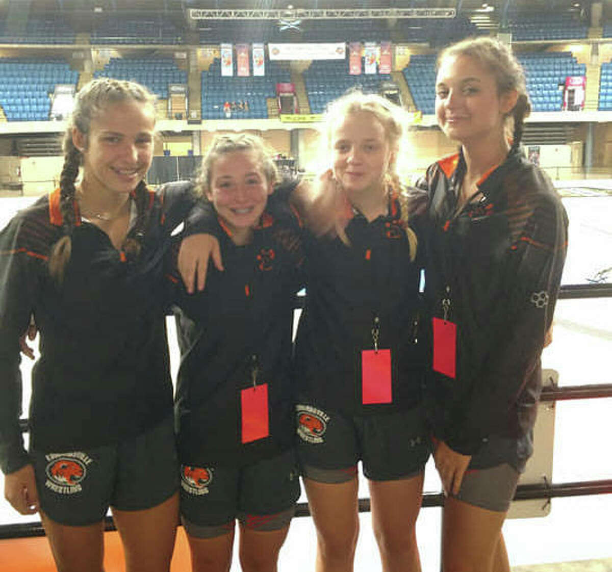 The Edwardsville Tigers were represented by Olivia Coll (101 pounds), Rosie Sanders (120 pounds), Abby Rhodes (120 pounds) and Gabby Jesse (132 pounds) at the IWCOA state tournament.