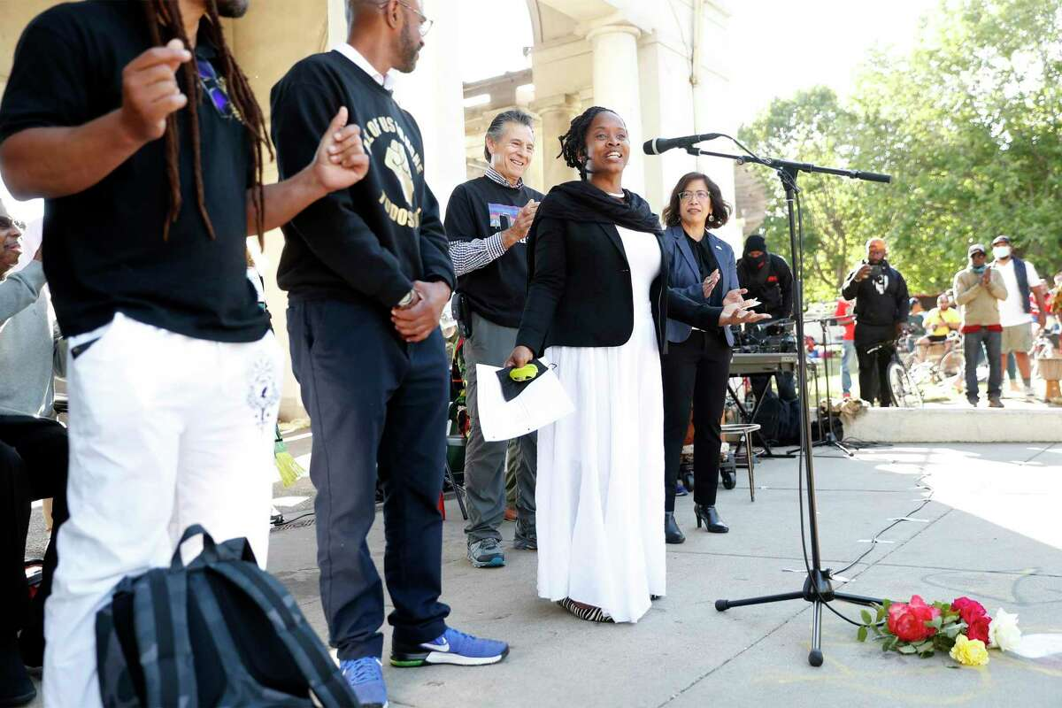 Oakland City Councilmember Carroll Fife speaks at a vigil to call for peace following Juneteenth shootings at Lake Merritt in Oakland, Calif., on Tuesday, June 22, 2021.