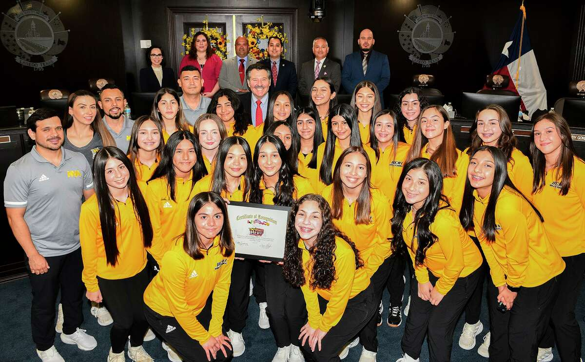 The Laredo City Council join the Heat Volleyball Academy 14-1 and 14-2 teams, Monday, June 21, 2021, as they are recognized for qualifying for the 2021 USA Volleyball Girls Junior National Championship tournament in Las Vegas.