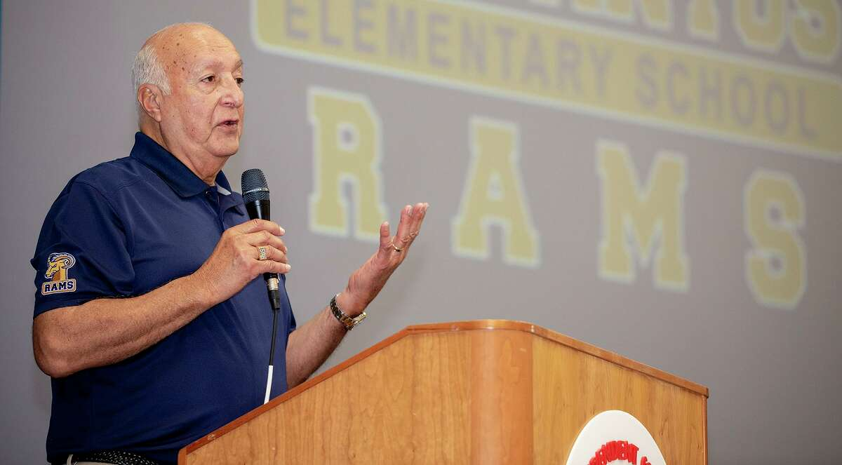Retiring UISD Superintendent Roberto J. Santos speaks about his time with the school district and its future, Tuesday, June 22, 2021, at Roberto J. Santos Elementary School during a brunch celebrating Santo's retirement.