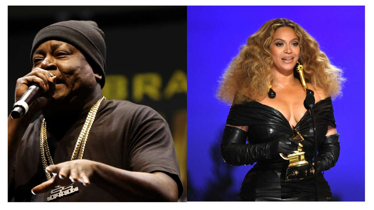 Trick Daddy said in a Clubhouse chat that Beyoncé can't sing. (Composite: Cliff Hawkins/Getty Images, Kevin Winter/Getty Images)