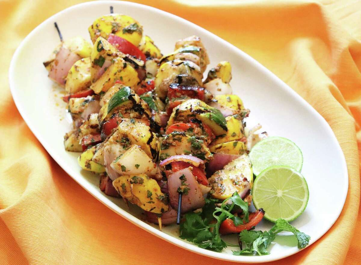 Grilled Squash Kebabs make the most of aroma- and flavor-absorbing zucchini or squash.
