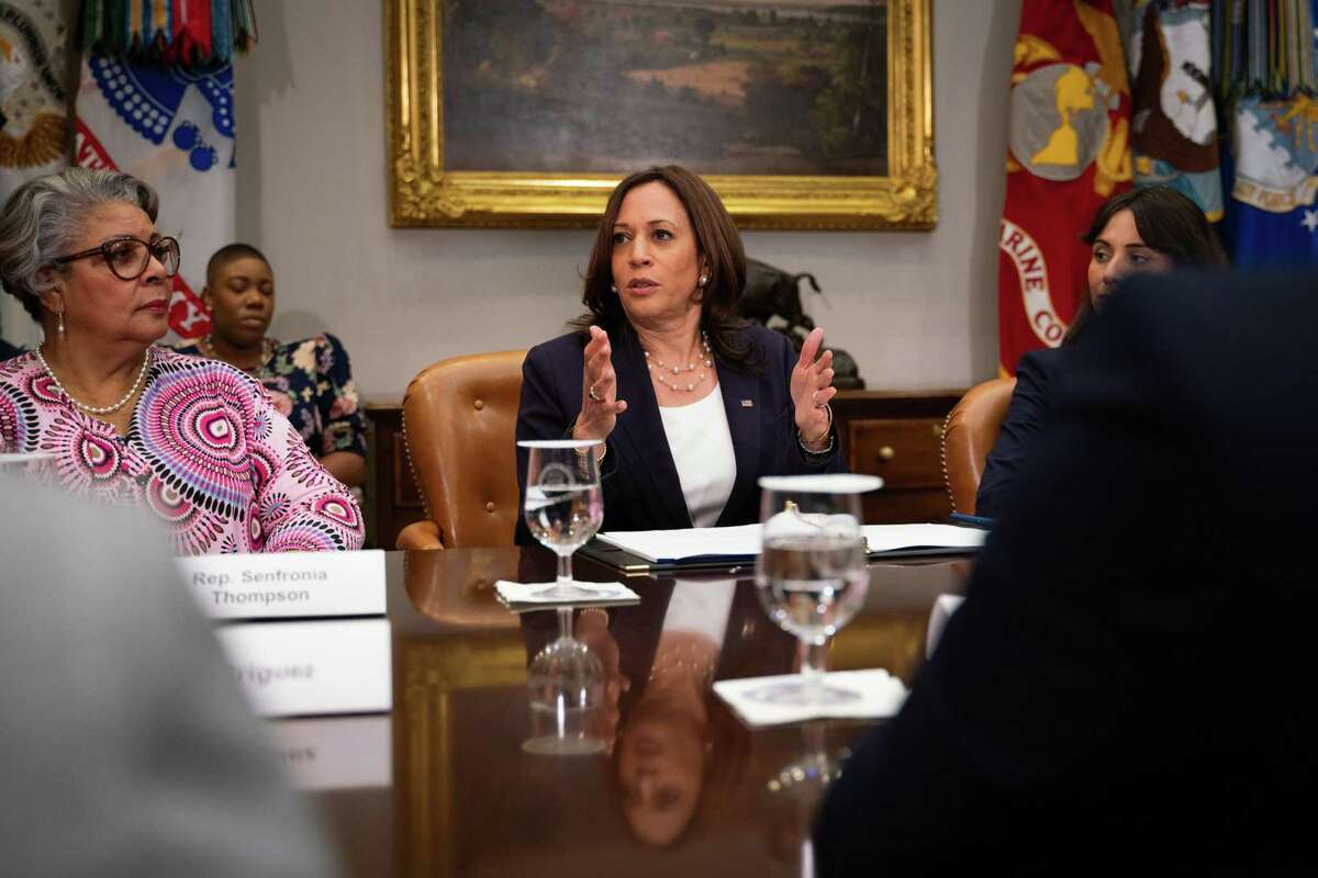 Vice President Kamala Harris meets with Democratic members of the Texas state Legislature, who successfully staved off a voter restriction bill in their state last month, in the Roosevelt Room of the White House in Washington on Wednesday, June 16, 2021.