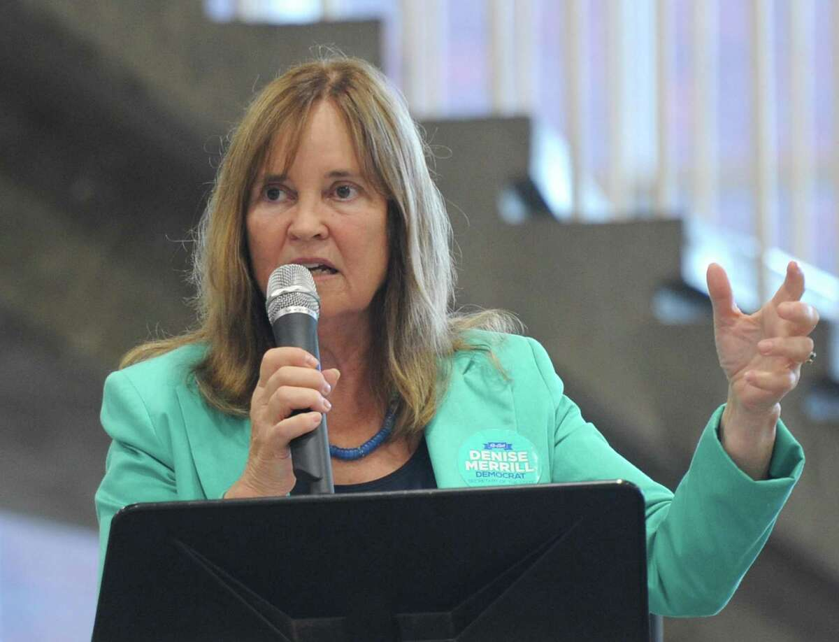 Denise Merrill, Secretary of the State of Connecticut, speaks at the Greenwich Democratic Town Committee Cookout and Campaign Rally at Greenwich High School in Greenwich, Conn. Sunday, Sept. 16, 2018. In attendance was gubernatorial candidate Ned Lamont, U.S. Rep. Jim Himes, U.S. Senators Chris Murphy and Richard Blumenthal, State Sen. candidate Alex Bergstein, and State Rep. candidates Laura Kostin and Steve Meskers.