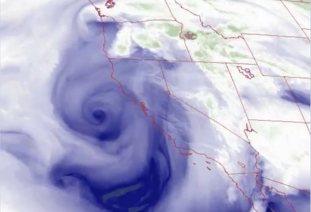 See the swirling low pressure off the coast of the Bay Area