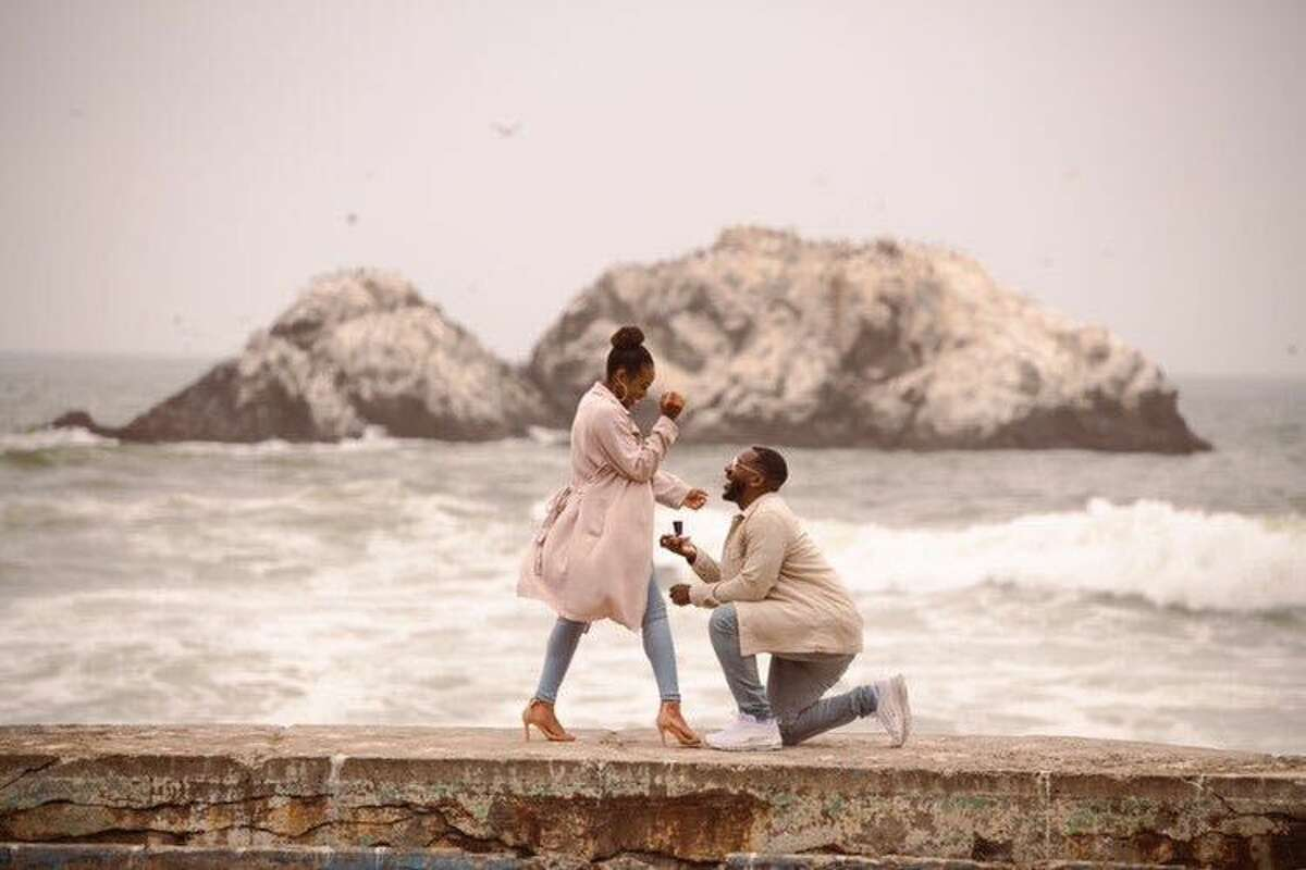 Ricky Johnson Jr. proposes to his now-fiancée at San Francisco's Sutro Baths.