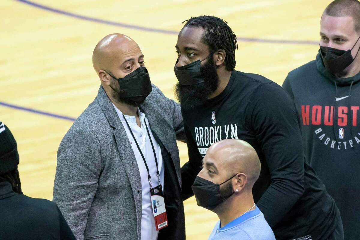 Rockets GM Rafael Stone (left) began Houston's new course when he traded James Harden to Brooklyn and now faces another decision with the No. 2 pick in the 2021 draft.