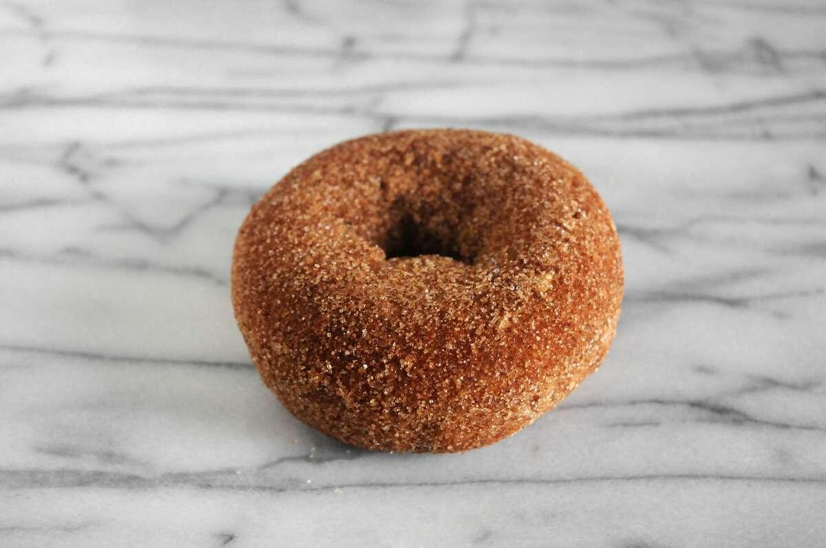 A cinnamon sugar apple cider donut.