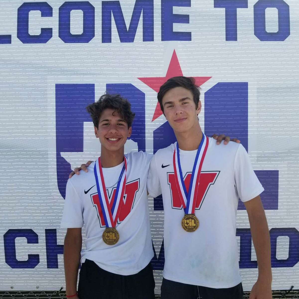 The Woodlands Emilio Lopez, right, and Jose Perez reached the state semifinals in the Class 6A boys doubles division.
