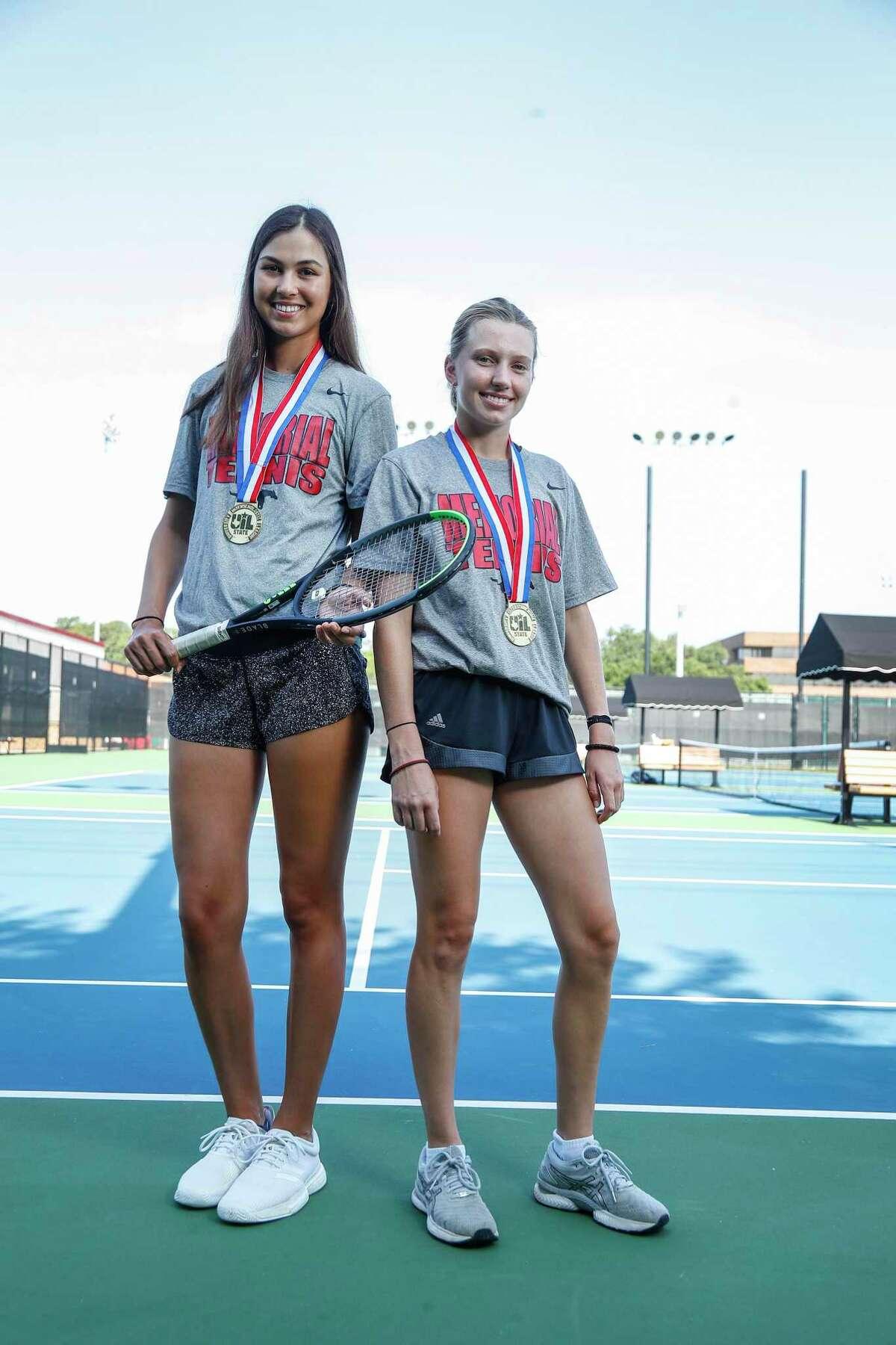 All-Greater Houston Girls Tennis Co-Players of the Year, Memorial seniors Aleksandra Dimitrijevic, left, and Drew Morris, Monday, June 14, 2021, in Houston.