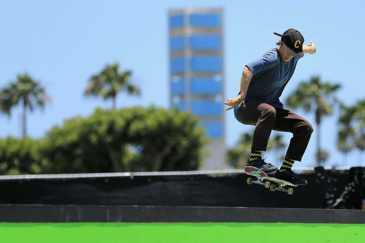 Alexis Sablone competes in the Women's Pro Street Final at the 2018 Dew Tour on June, 30 2018 in Long Beach, California.