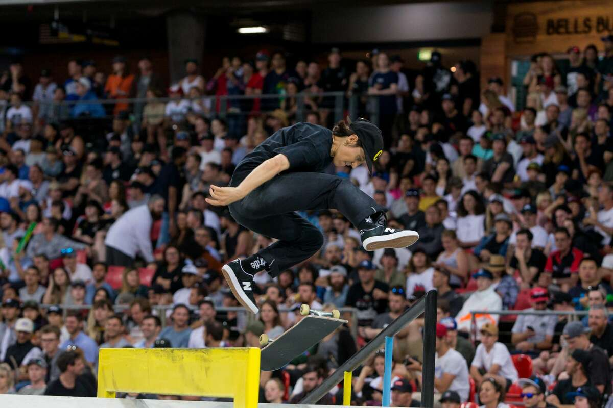 Alexis Sablone of United States competes in Skateboard street womens final at The X-Games at Spotless Stadium in Sydney on October 19, 2018.