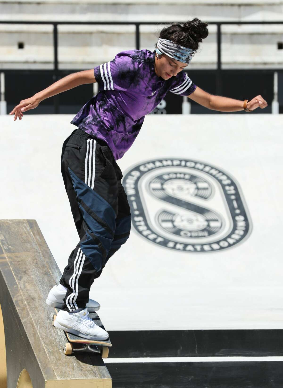 Alexis Sablone of the United States competes during the Women's Semifinal of the Street Skateboarding World Championships, a qualifying event for Tokyo Olympic Games, in Rome, Italy, June 4, 2021.