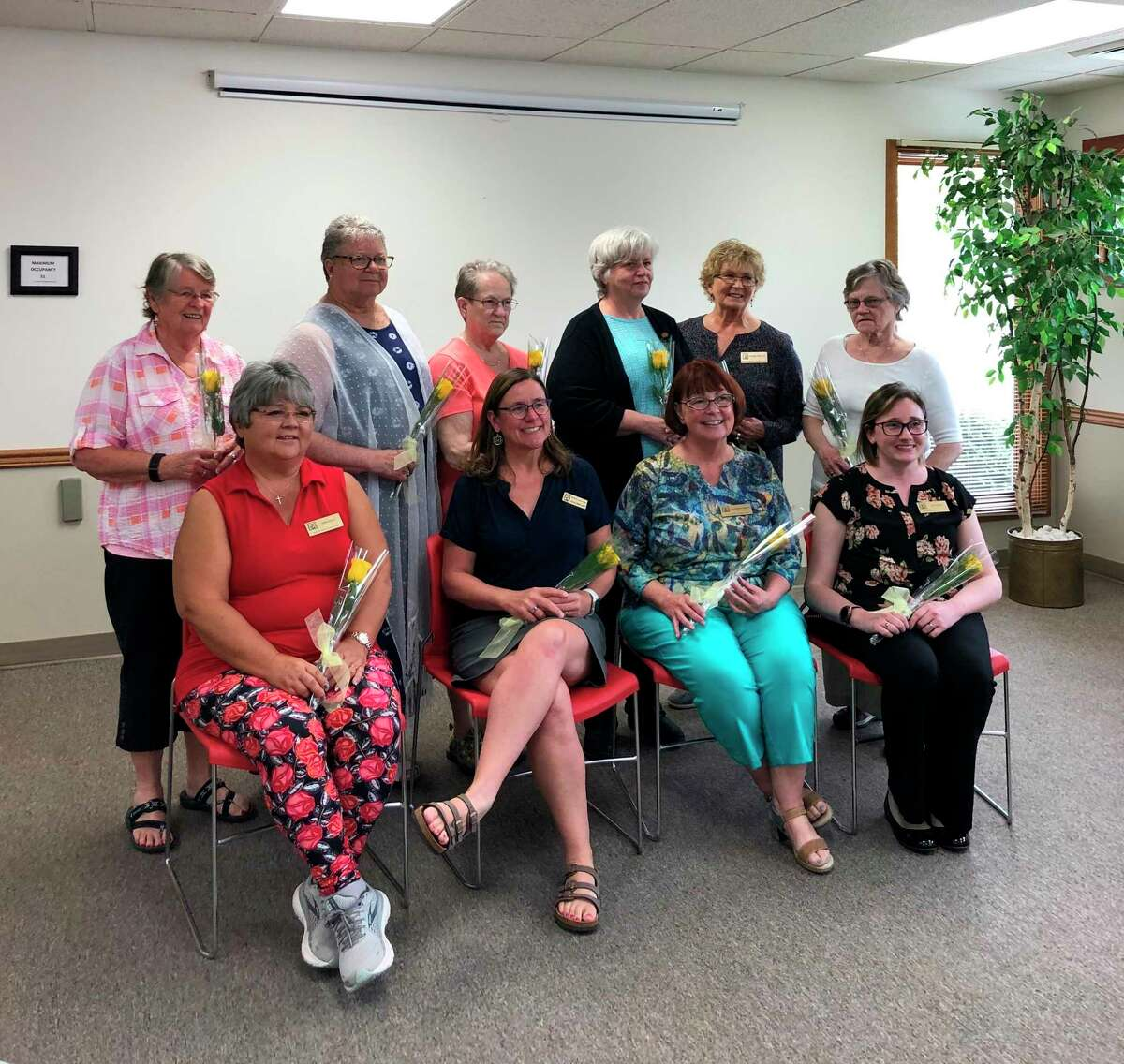 The new officers for Benzie Area Zonta for 2021-2023 include(front row, left to right) Cindy Ooley, 2nd vice president; Julie Bretzke, immediate past president; Rosemary Naulty, president; Tia Cooley,firstvice president; (back row)Linda Nugent, board of directors; Donna Clarke,secretary; Lucy Wright, treasurer; Marianne Fleetwood; Dianna Heller, Vicki Sager, board of directors. (Courtesy Photo)