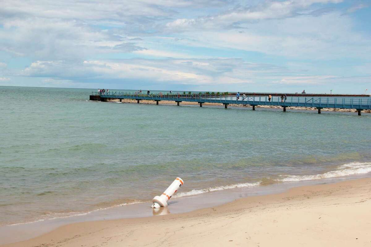 Lake Huron's water levels have gone down from the record highs of last year, though places like the beaches of Port Austin are still at risk of flooding and erosion. (Robert Creenan/Huron Daily Tribune)