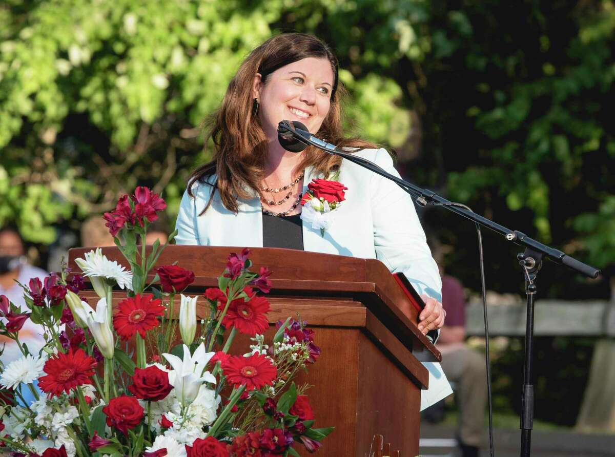 Portland High School graduated the class of 2021 June 16. Here, Principal Kathryn Lawson speaks to the crowd.