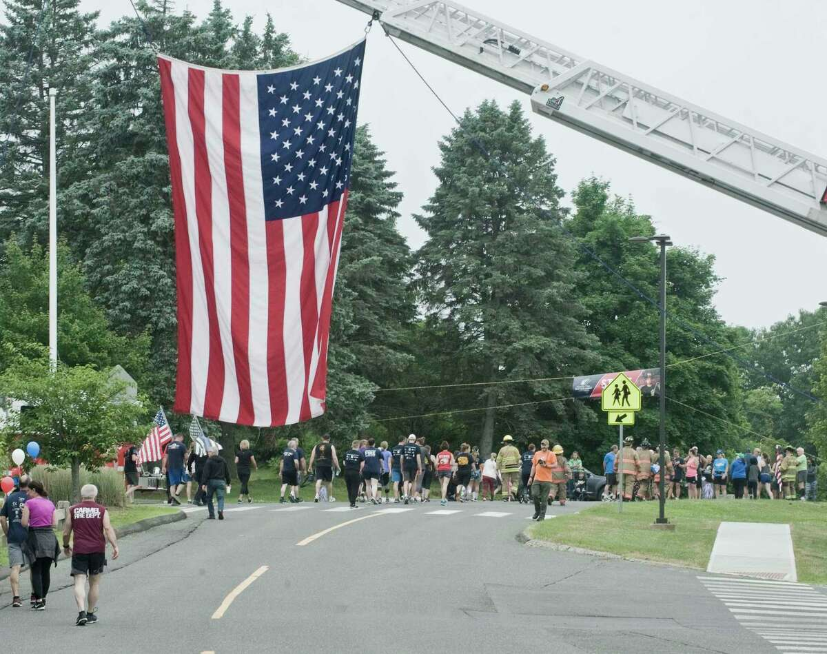 Race participants head to the starting line during Bethel's Tunnel to Towers 5K in 2018.