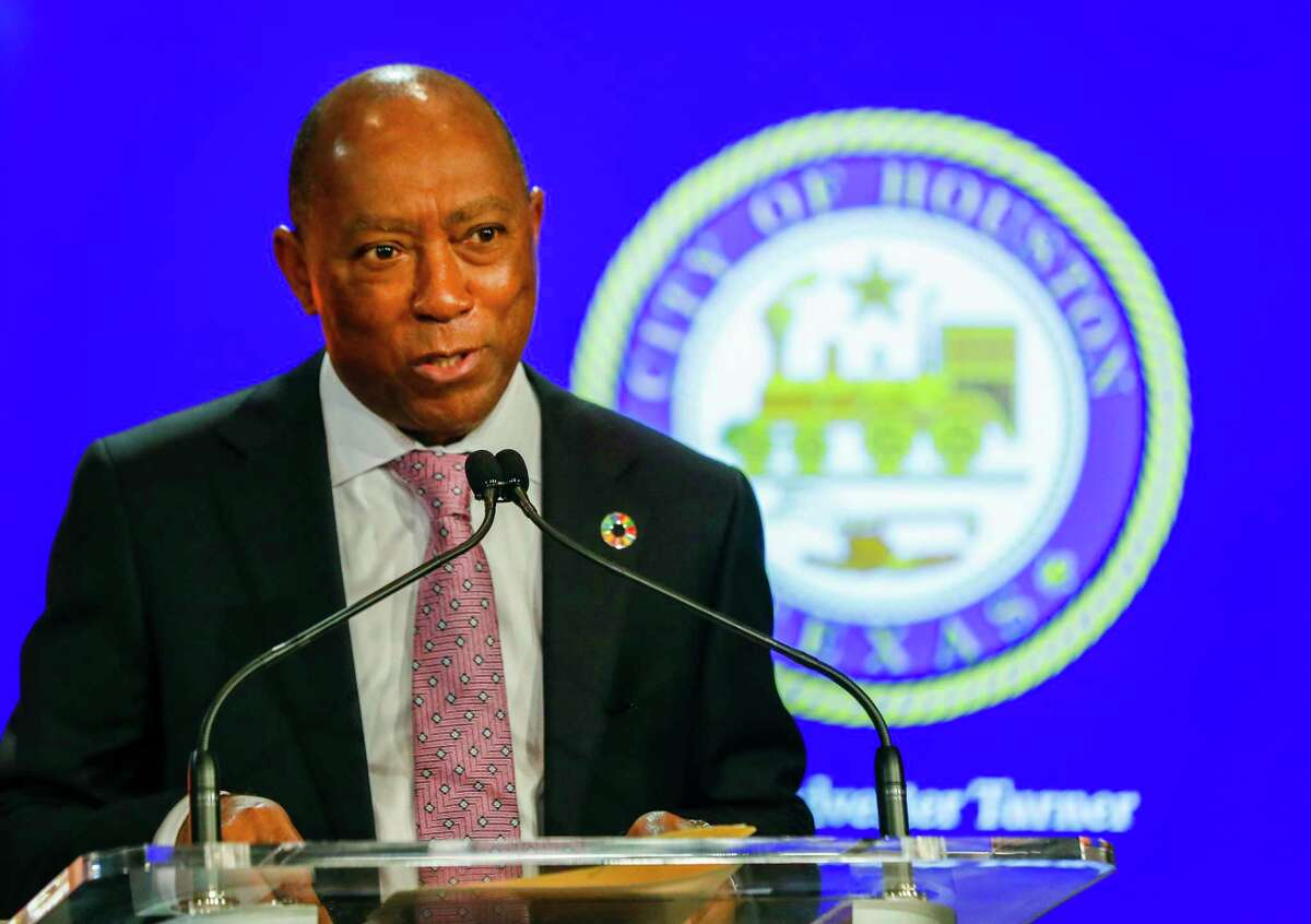 Mayor Sylvester Turner speaks at a City Hall press conference in May. On Wednesday, Turner announced a tentative deal with the city's municipal union to give civilian workers 9 percent raises over the next three years.