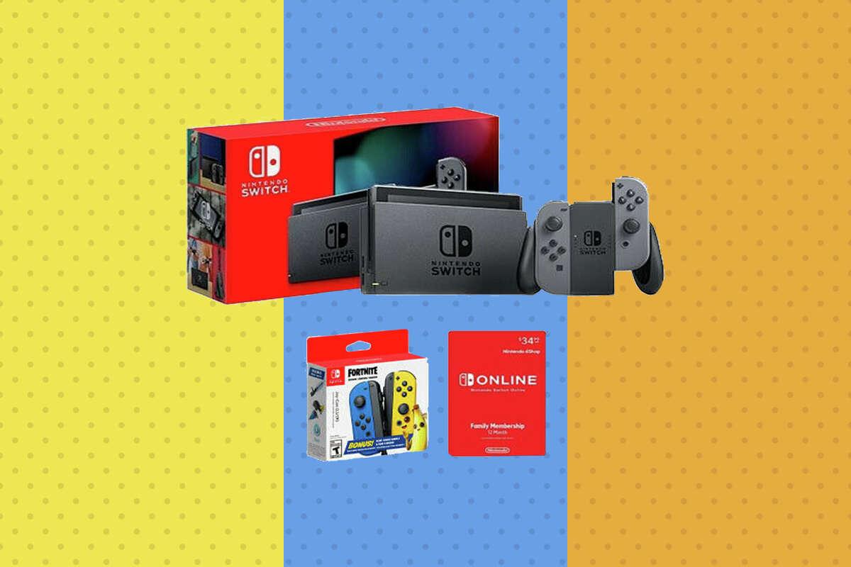 Nintendo Switch Gray + Fortnite Fleet Force Joy-Con + Nintendo Online 12 Month for $389.99