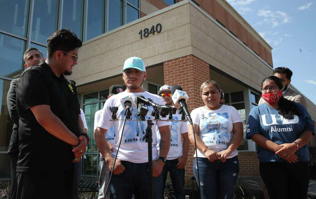 Miguel Angel Ibarra, twin brother of José Ángel Ibarra Ruiz talks about his shooting death during a press conference Wednesday, June 23, 2021, outside the Fort Bend County Sheriff's Office in Richmond. A FBCSO deputy providing private security shot and killed his twin brother on June 5 during a quinceañera at a Knights of Columbus hall in Needville.