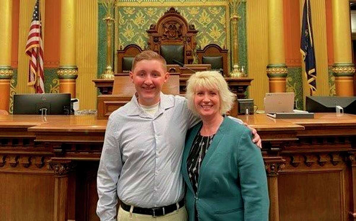 Evan Burdick recently visited Rep. Annette Glenn at the Michigan Capitol in Lansing. (Photo provided)