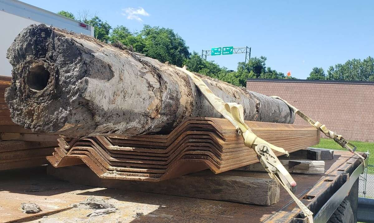 The latest wooden water main find, dug from a work site near City Hall in June 2021.