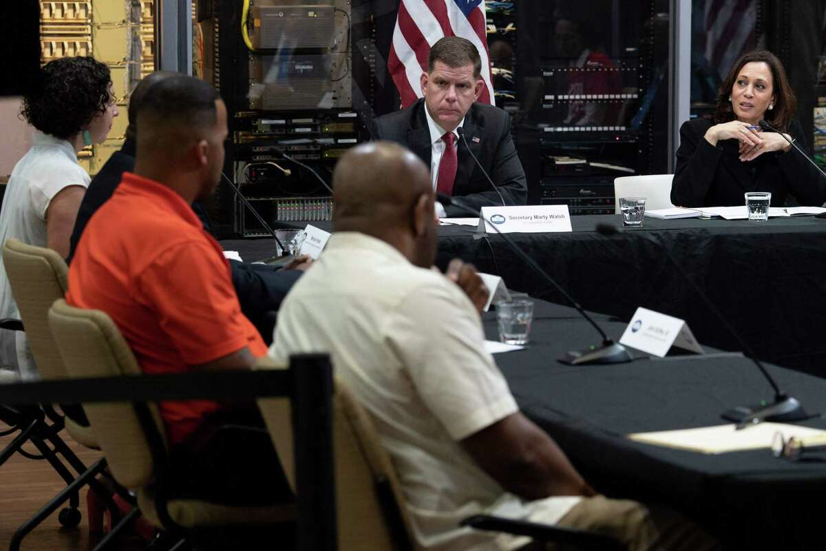 U.S. Secretary of Labor Marty Walsh alongside Vice President Kamala Harris on June 21, 2021, at a roundtable discussion in Pittsburgh hosted by an affiliate of the International Brotherhood of Electrical Workers. Electrician trainees account for nearly one of every two U.S. apprenticeships, with the Biden administration pledging to create as many as two million new slots under the American Jobs Plan.