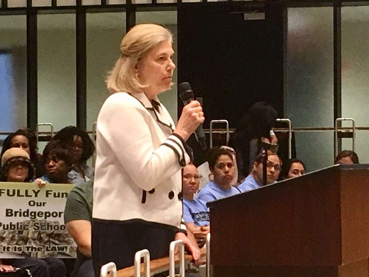 Anne Gribbons, director of the School Volunteers Association at the April 23, 2019 City Council hearing on the Bridgeport School budget.