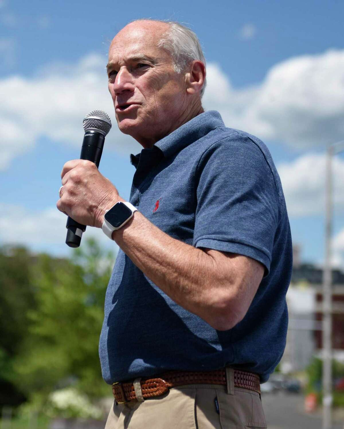 Mill River Park Collaborative Chairman Arthur Selkowitz speaks during the announcement of the Alive@Five and Wednesday Nite Live concert series performers at Mill River Park in Stamford, Conn. Wednesday, June 23, 2021. Morgan Stanley Presents Wednesday Nite Live kicks off September 1 with Blues Traveler while Alive@Five in Partnership with Reckson begins the following night, September 2, with a performance by Jon Batiste.