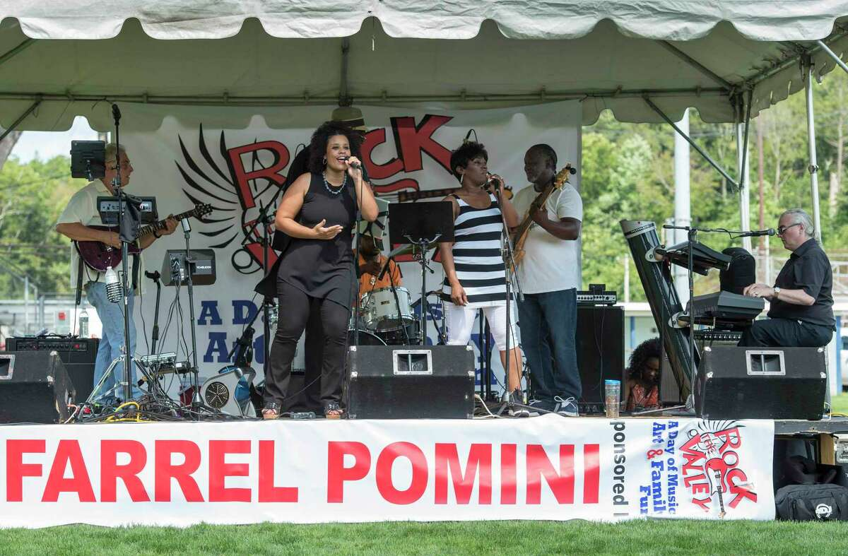 """The Bernadettes entertain the crowd at the annual """"Rock The Valley"""" festival held at Nolan Field, Ansonia, CT. Saturday, August 19, 2017. The band is making its Trumbull Day debut this year."""