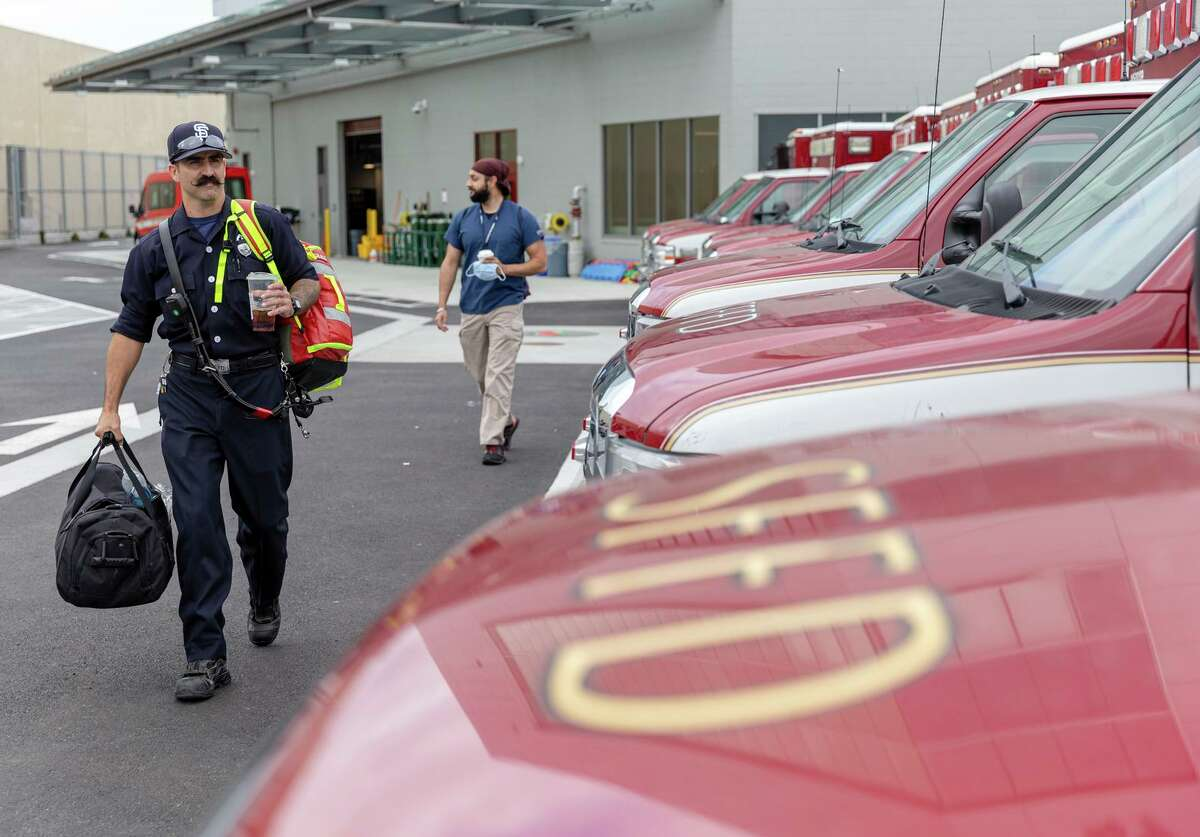 Paramedic Joey Gonzales (front) and Gurvijay Bains, UCSF emergency medicine fellow, on the job.