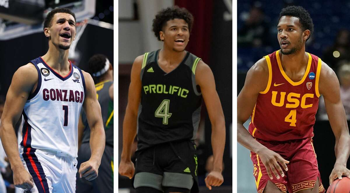 The Rockets likely will use the No. 2 pick in the NBA Draft on either Gonzaga's Jalen Suggs (left), G League Ignite's Jalen Green (center) or USC's Evan Mobley.
