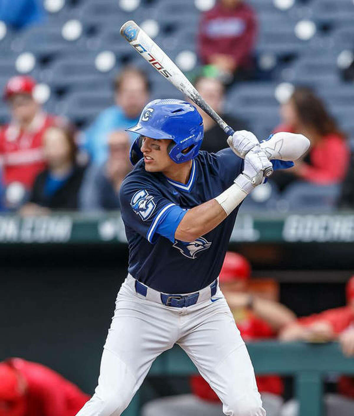 Jordan Hovey in action for the Creighton Bluejays during his college days. He recently signed with the Kansas City Royals.