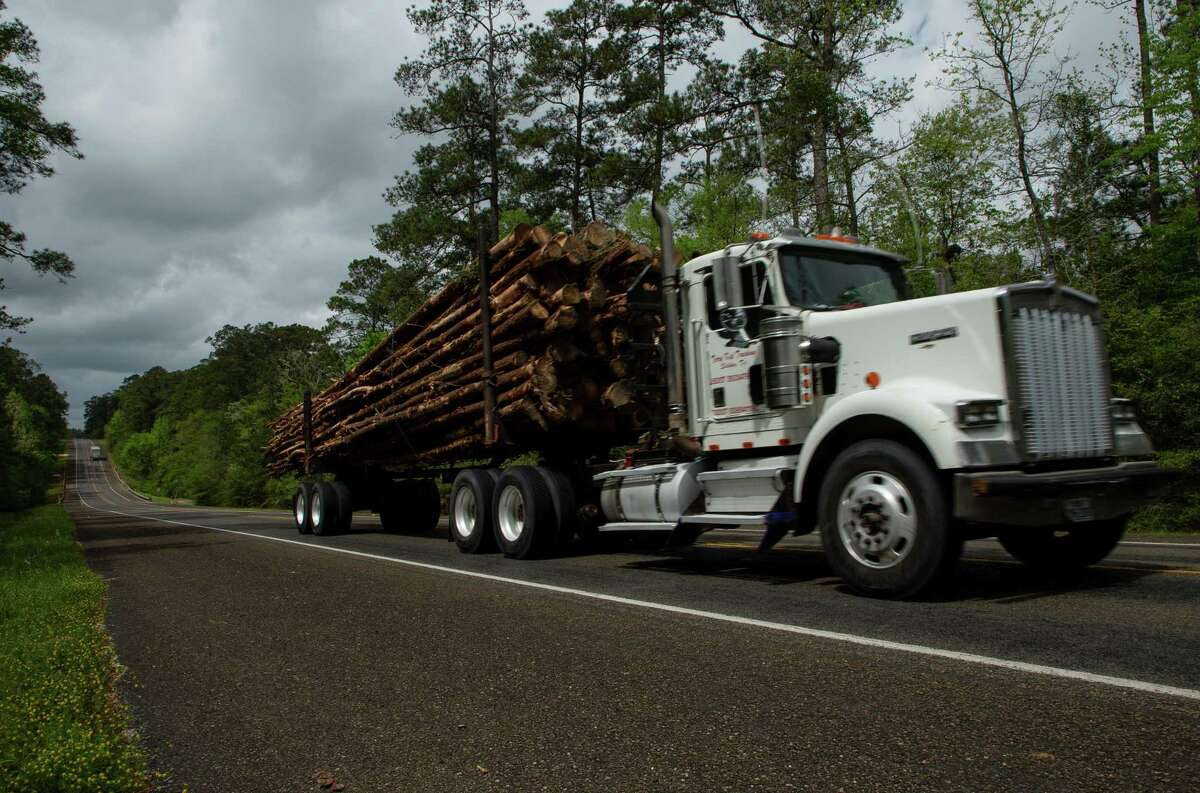 An 18-wheeler transports tree logs on Highway 190 West, on Tuesday, April 6, 2021, in East Texas.