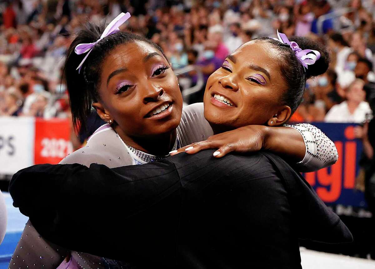 Simone Biles, left, and Jordan Chiles finished first and second, respectively, in all-around at the U.S. Gymnastics Championships earlier this month in Fort Worth.