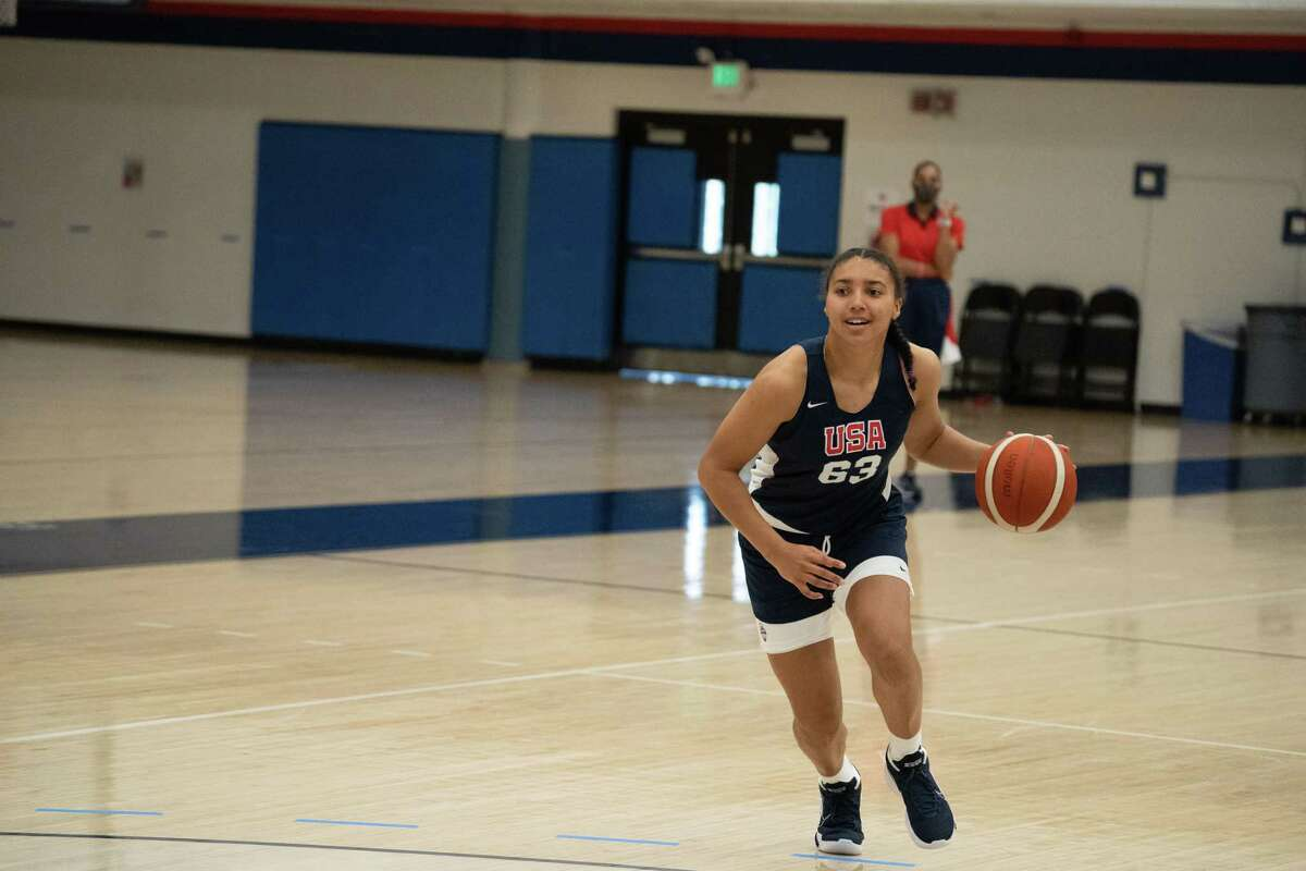 Incoming UConn women's basketball freshman Azzi Fudd participates in the USA Basketball U19 World Cup trials in Denver from May 14-16, 2021.