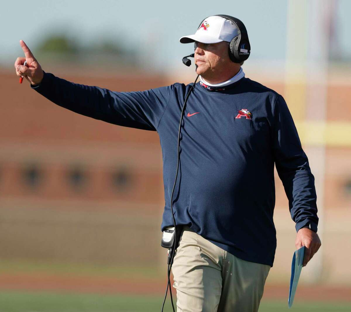 Atascocita head coach Craig Stump is seen during the third quarter of a District 21-6A high school football game at Turner Stadium, Saturday, Oct. 31, 2020, in Humble.