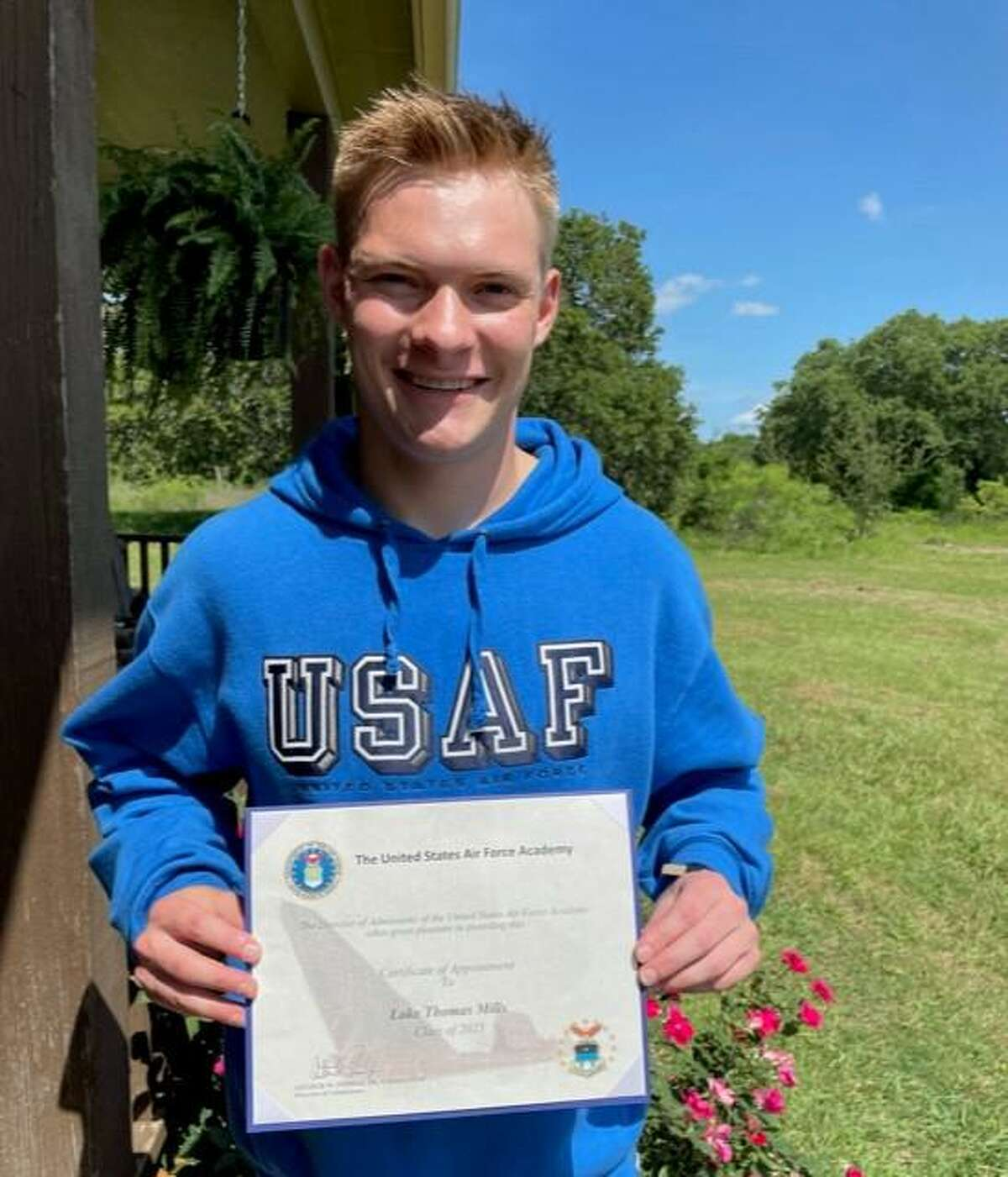 Lake Mills, a homeschooled Bastrop County teen, is headed to the Air Force Academy. Mills, 18, shown with his Certificate of Appointment from the United States Air Force, received his nomination from U.S. Rep. Michael McCaul. Approximately 10,000 applicants applied nationwide and 1,200 were offered appointments into the academy.