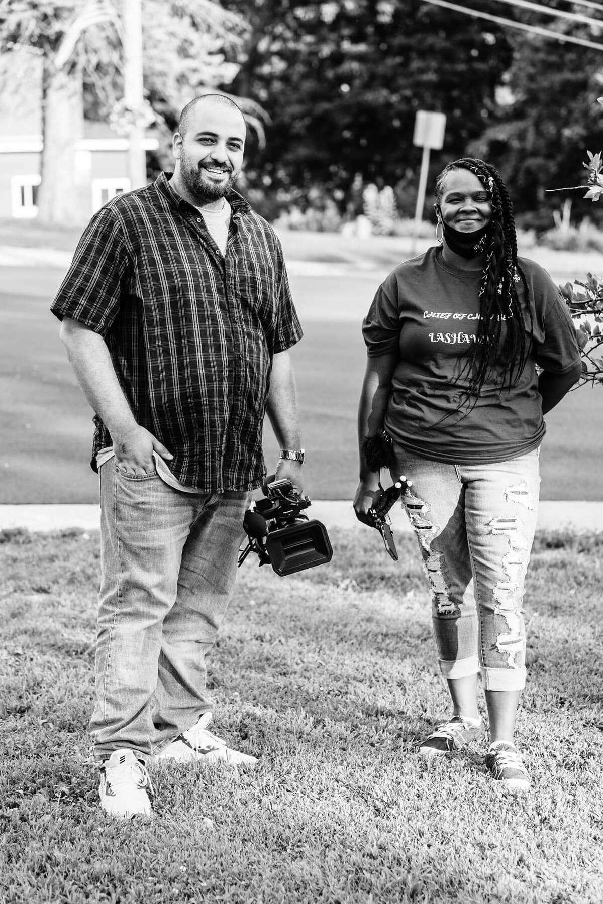 Osama Mustafa and LaShawn Hawkins while filming their documentary