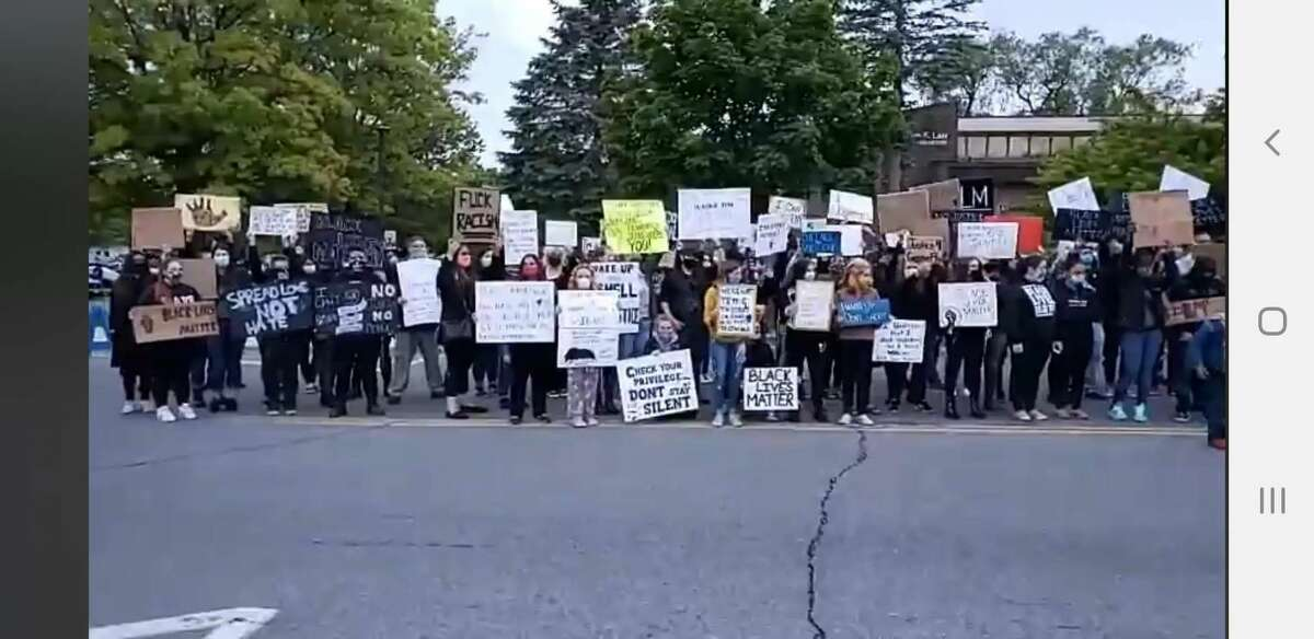 At a silent protest in Gloversville