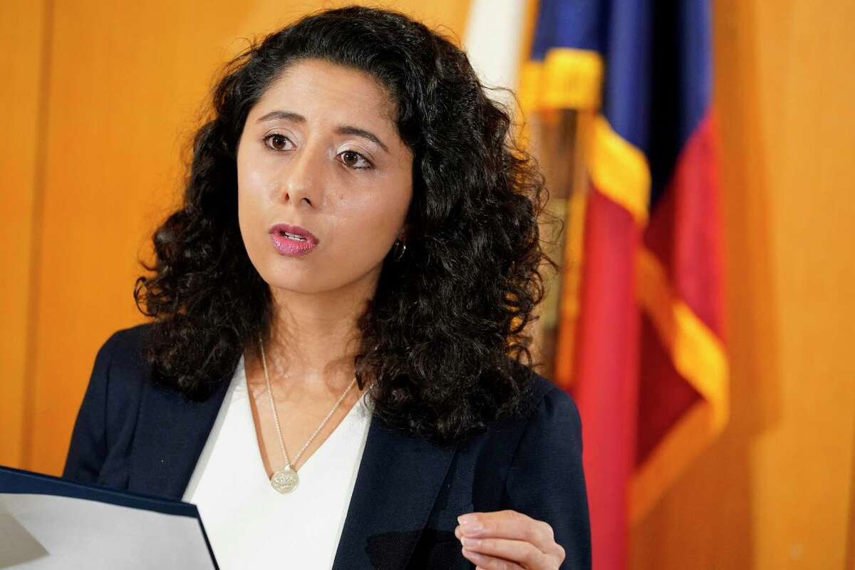 Harris County Judge Lina Hidalgo speaks during a press conference Wednesday, June 23, 2021 in Houston. She and Harris County Attorney Christian Menefee spoke about the federal pause of Interstate 45 projects.