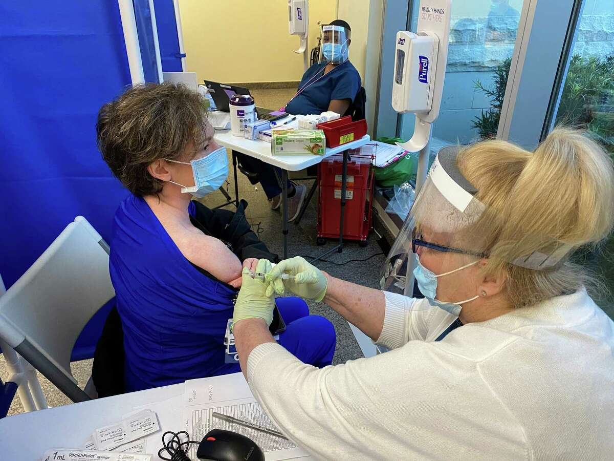 Tami Baly, an emergency room nurse at Houston Methodist The Woodlands Hospital was one of the first frontline healthcare workers to get the COVID-19 vaccination.