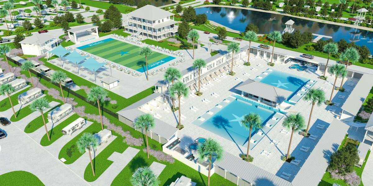 Bolivar Beach Club & RV resort will open in November along the Bolivar Peninsula. A rendering shows the expected plans for the resort which will span 150 acres od beachfront property.