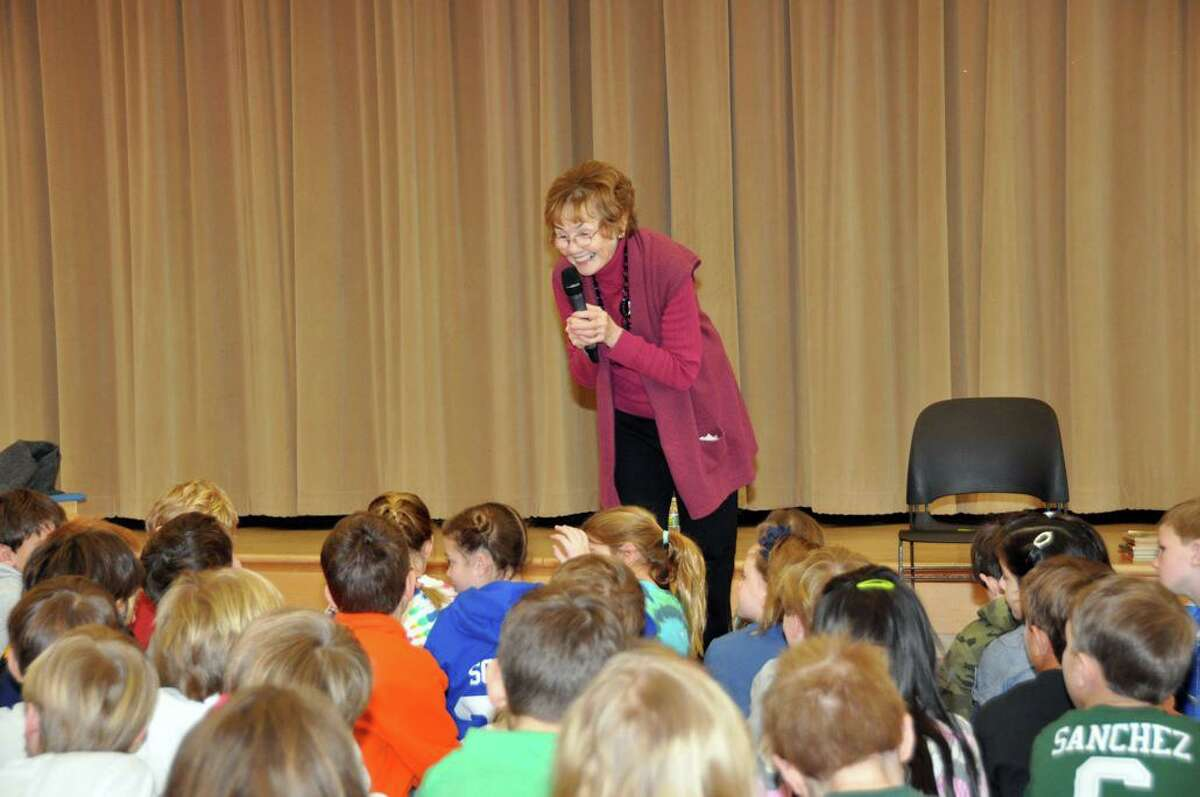 Author Patricia Reilly Giff takes questions from students at Tokeneke.