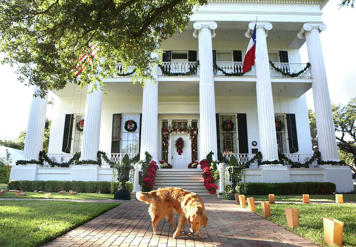 Pancake, the Abbott's dog, fetches a stick on the walkway up to Christmas theme decorated Texas Governor's Mansion in Austin on Thursday, December 3, 2015.