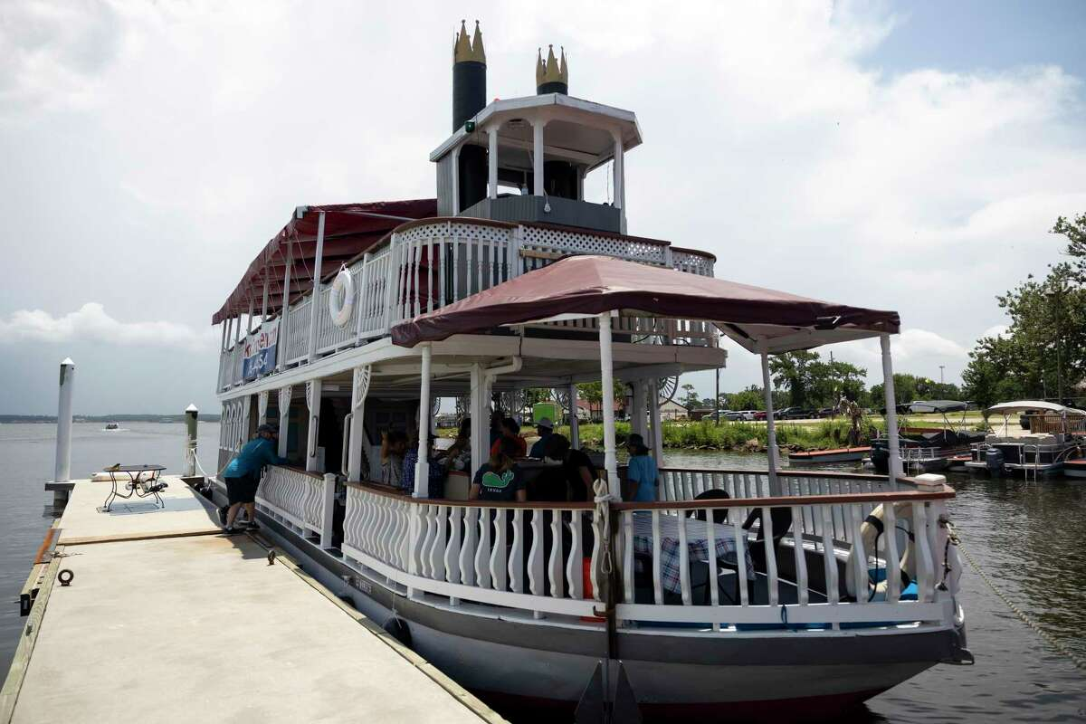 The Lake Conroe Queen, a smaller paddleboat style vessel, is seen, Wednesday, June 23, 2021, in Conroe. The Lake Conroe Queen was built in 1986 in Grand Ledge, Michigan and has traveled to Indiana, Colorado and Louisiana.